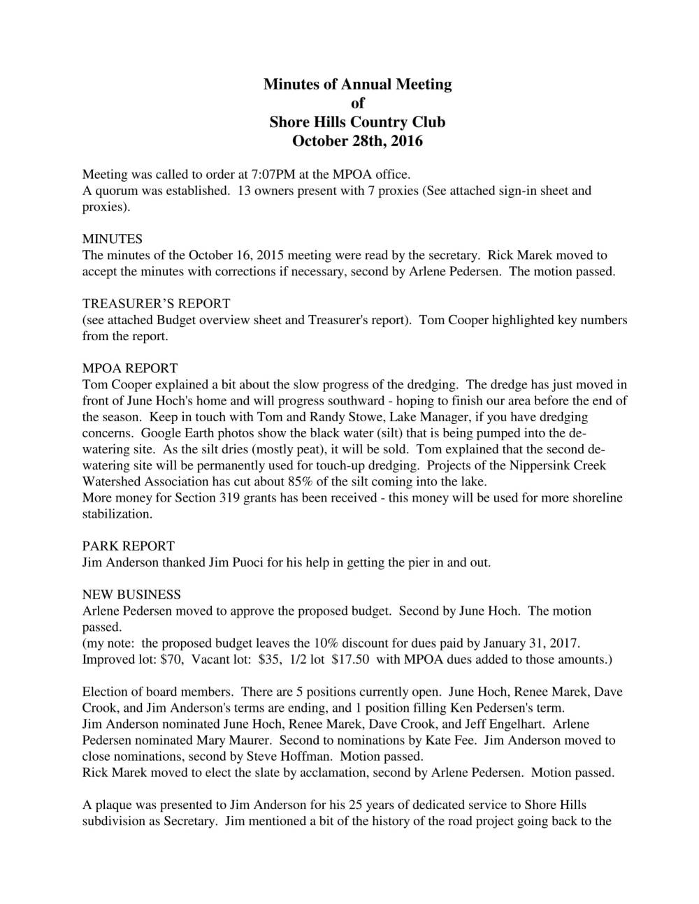 Shore Hills Country Club - Minutes of Annual Meeting - 10-28-16-1
